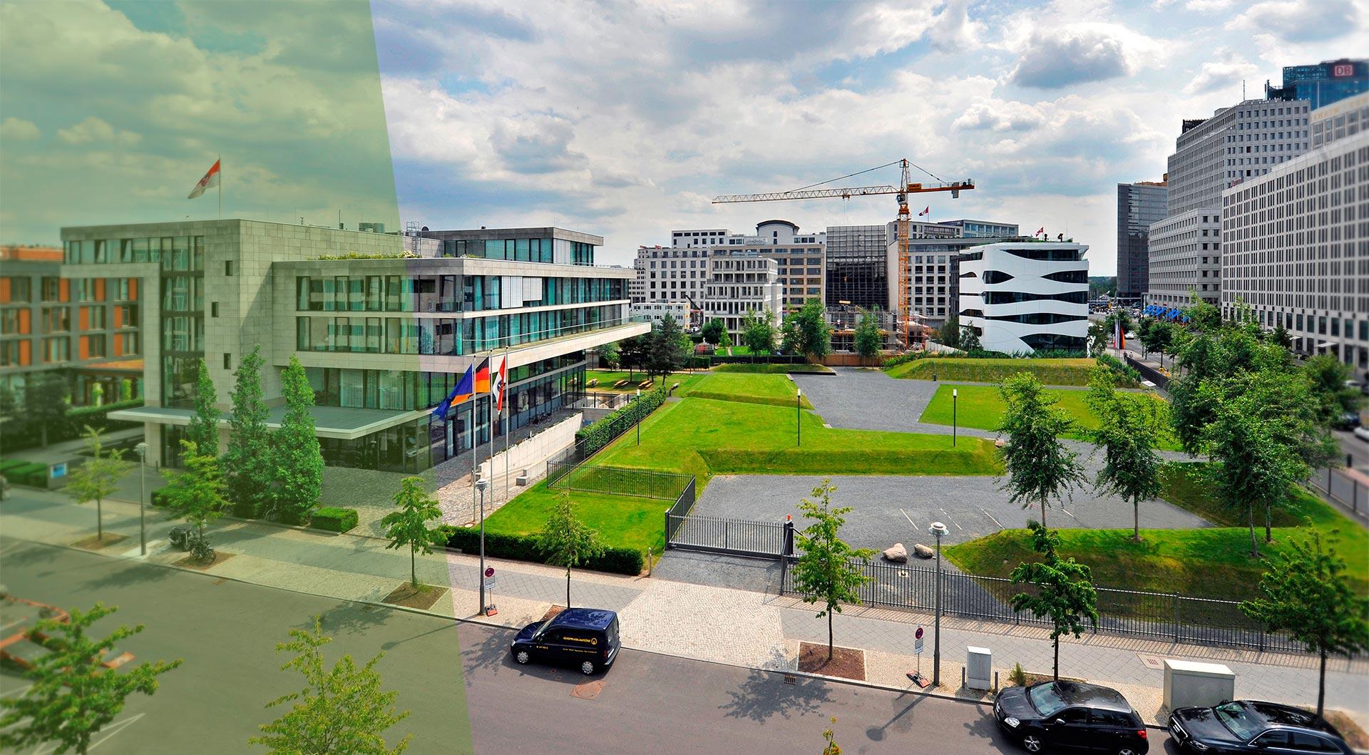 Ministergarten Berlin im Sommer neben hessischer Landesregierung
